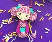 Koi Pink Kokeshi Doll Enamel Pin - Kawaii Lapel Pin - Brooch