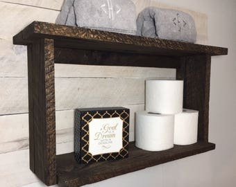 Rustic reclaimed oak barn wood bathroom wall shelf