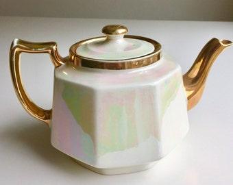 Stylish vintage lustre teapot, HJ Wood, late 1940s