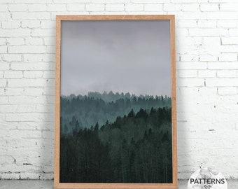 Winter forest - Minimalist forest print- Printable Wall art - Digital print - Modern Scandinavian design - Photography