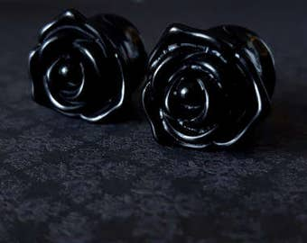 "Black Rose Carved Acrylic Plugs (6G - 5/8"")"