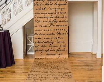 Hand-painted Custom Quote Text Scroll Wedding Backdrop/Aisle Runner - Personalized - 30 foot