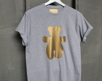 T-Shirt Teddy made from knitted cotton, Grey with gold