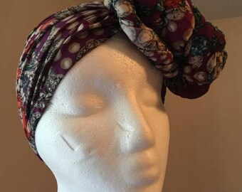 Purple Jeweled PRE-Tied / Fitted Headwrap