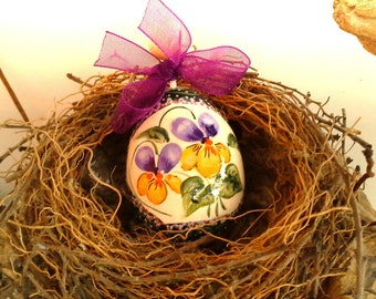 Hand-painted wooden egg-collectors-with wire and Bell-Easter decoration to hang