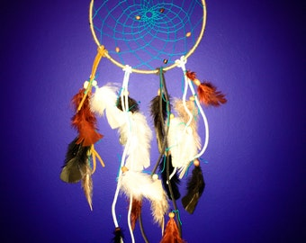 DIY Dreamcatcher Kit with multi-colored natural feathers, leather, string, and yarn / Boho / Ojibwa Dreamcatcher / Rustic (TizzyBits Kit)