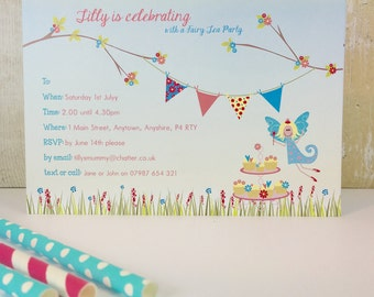 Pack of 16 Fairy Tea Party Personalised birthday, baby shower, Christening or Hen Party Invitations invites or thank you cards