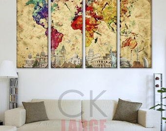 World Map Art Canvas, Abstract World Map, Large Canvas map, World Map Canvas, World Map Wall Art, large world map art, World Map Canvas