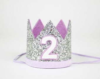 First Birthday Crown | First Birthday Outfit Girl | First Birthday Hat | Birthday Glitter Crown | 1st Birthday Hat | Silver + Purple 2