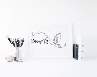Maryland Print - State Print - Hand Lettered Print - Maryland - Custom State Print - Personalized State Print - Custom State Sign - Sign