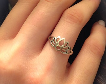 Lotus Ring-Sterling Silver Lotus Ring-Lotus Flower Ring-New Beginnings-Lotus Jewelry-Yoga Ring-Promise Ring-Lotus-Thumb Ring-Midi-Lotus
