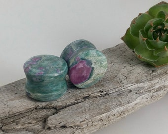 "Ruby in Fuchsite plugs, stone body jewelry, flared ear plugs, organic stone plugs, handmade plugs, stone plugs 9/16"", organic ear stretchers"