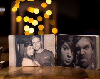 2 Piece, Wooden Photo Block, 4x6'', Hinged, Photo Transfer, Keepsake, Decoration, All Occasions