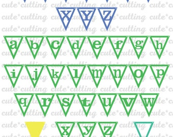 Alphabet banner svg, Triangle banner svg, party banner svg, Letters svg dxf jpeg cutting files for Silhouette Cameo, Portrait, Curio, Cricut