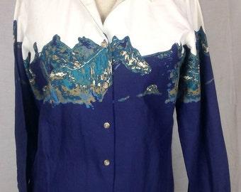 Wrangler Western Button down Shirt, Horses, Blues, Print, Vintage