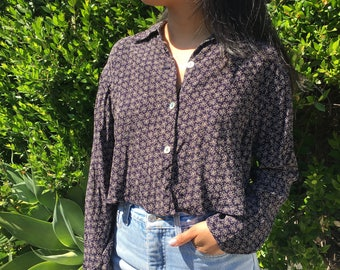 Navy Floral Cropped Button Up