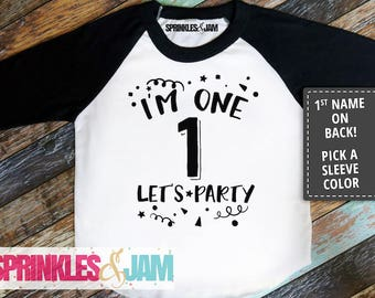 1st Birthday Boy Outfit, First Birthday Shirt Boy, Boys 1st Birthday Shirt, Im One Lets Party