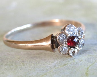Victorian Garnet and Diamond  Ring, Halo Diamond Ring, Vintage Engagement Ring