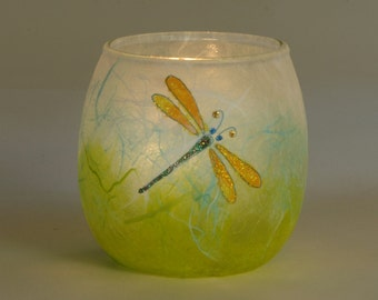 Dragonfly candle holder - small tealight votive with delicate dragonfly on spring colours - handmade by Karen Keir