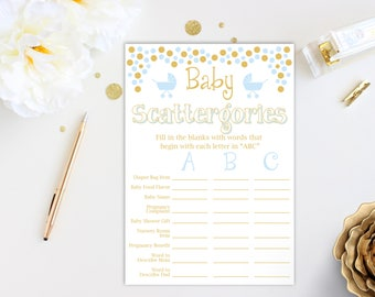 Baby Shower Scattergories Game ~ Blue and Gold Baby Shower Game ~ Baby Boy Pram ~ Printable Game 0024BG