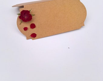 Red Rose Name Place Cards (Pack of 10), dried flowers, wedding favour, name cards, christmas wedding, christmas dinner