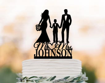 Family Wedding Cake topper with boy, Personalized wedding cake toppers, mr and mrs wedding cake toppers with child silhouette