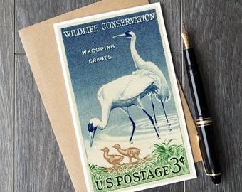 Whooping crane, whooping cranes, crane gift cards, bird gift cards, crane birthday cards, US postage cards, stamp art prints, unique gifts