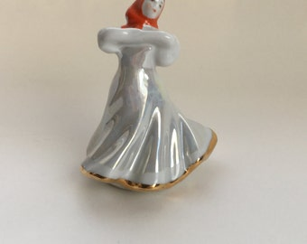 Russian Dancing Girl DULEVO Rare Antique Soviet Russian Porcelain Figurine 1960s numbered, Falcon Stamped