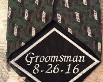 Groomsman Tie Patch, Tie Patch, Wedding Tie Patch, Embroidered Tie, Personalized Tie Patch, Wedding gift,