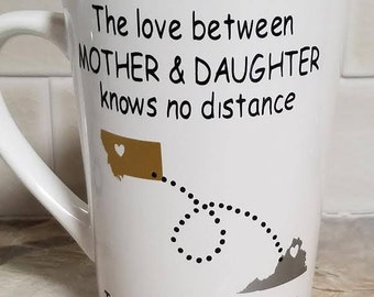 Love Knows NO distance mug/ Long distance gift/ Long distance relationship/ Mothers Day gift/ Fathers day gift/ I love you gifts