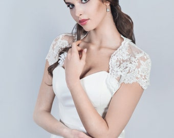 Bridal lace bolero Wedding lace bolero Short sleeve lace bolero Bridal jacket