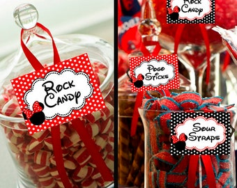 Minnie Mouse Disney Red Candy Table Buffet Label Baby Shower Party Printable -  Party Designs Co