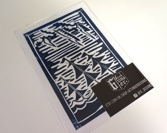 Sinking Ships - Linoprint