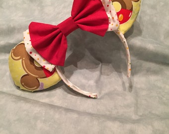 Donut Mickey ears with red/white polka dot bow