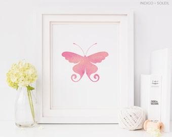 Nursery Art, Pink Butterfly Print, Downloadable Prints, Prints for a Nursery, Pink Wall Print, Baby Girl Nursery, Animal Print