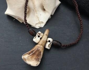 Buffalo tooth macrame necklace