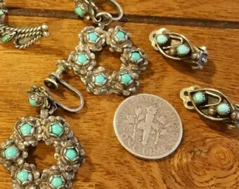 Two Pair Vintage  Sterling Silver Turquoise Earrings