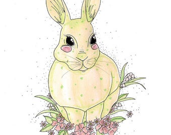 Bunny Illustration Print - Easter Bunny Card