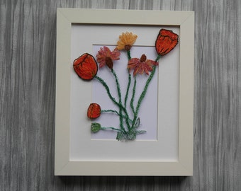 Textile Art, Wall Picture, Machine Embroidered Picture, Framed, Flowers, Wall Art,
