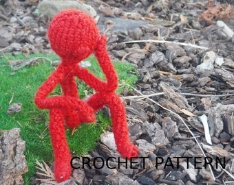 Unique Bendable Little Stickman Crochet Amigurumi PATTERN - Crochet Doll Pattern - Fun toy gift for Girls or Boys - US and UK pattern
