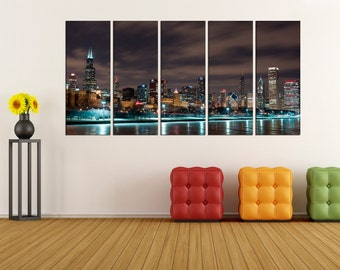 chicago skyline wall art canvas, extra large wall art, large chicago night photo print, chicago skyline canvas wall art print no:uc53