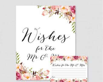 Printable Wedding Wishes Cards - Pink Floral Wishes for the Mr and Mrs Cards and Sign - Rustic Flower Wedding Reception Game/Activity 0004