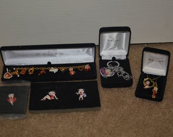 """Betty Boop """"The Danbury Mint"""" Collectibles, Betty Boop Pin Pins, Betty Boop Key Chain Keychain, Betty Boop Necklace"""