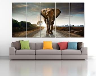 African Elephant Wall Art Print, Elephant Canvas Print, Extra Large Animal Wall Decor, Nursery Decoration, Africa Skyline Canvas Art LC016