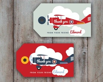 Airplane Tag Red Vintage Airplane Thank you tag Birthday Party retro airplane favor tags cloud custom printable  download