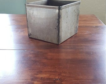 Vintage Industrial Metal Basket Square