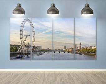 London - London eye, County Hall, Westminster Bridge, Big Ben and Houses of Parliament leather print/Multi Panel Print/Better than Canvas!
