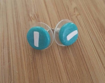 Torqouise blue green polymer clay stud earrings