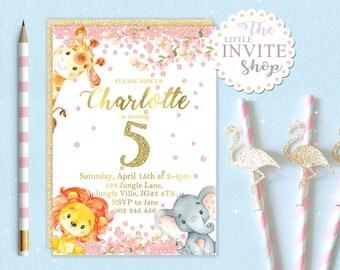 Jungle Safari Animal Invite | Birthday Party Invitation | Baby Lion Elephant Giraffe | Digital Download Customised Personalised | Printable