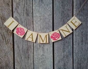 pink and gold first birthday banner, I am one banner, high chair banner, pink and gold birthday banner, cake smash banner, decorations